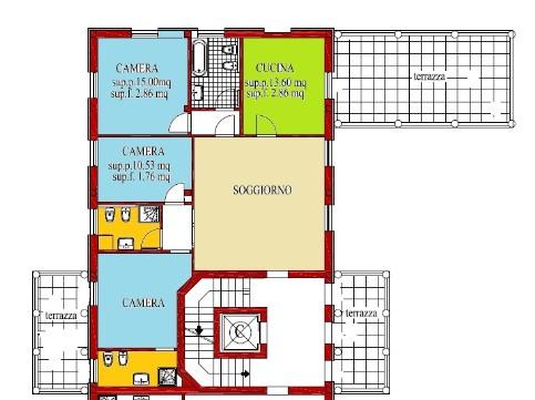 Progetto appartamento 100 mq infissi del bagno in bagno - Progetto casa 100 mq ...